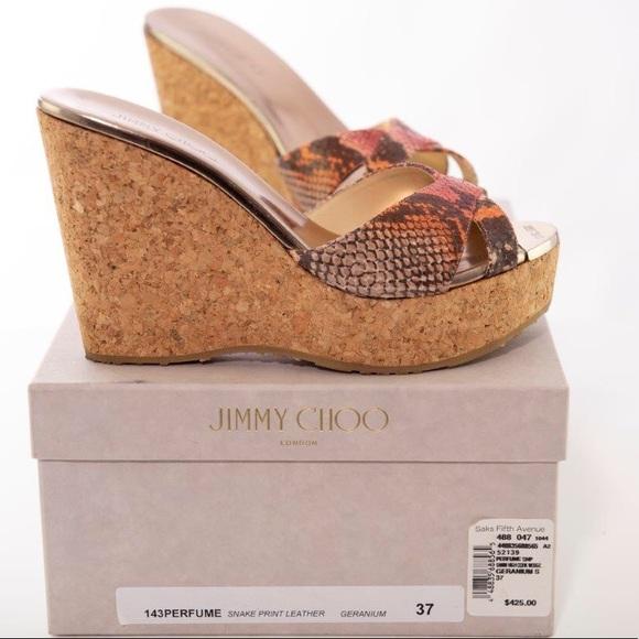 f5d0e4f29379 Jimmy Choo Shoes - Jimmy Choo Perfume Snake Print Cork Wedge